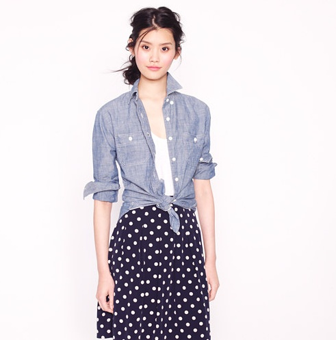 Chambray shirt with polka dot skirt