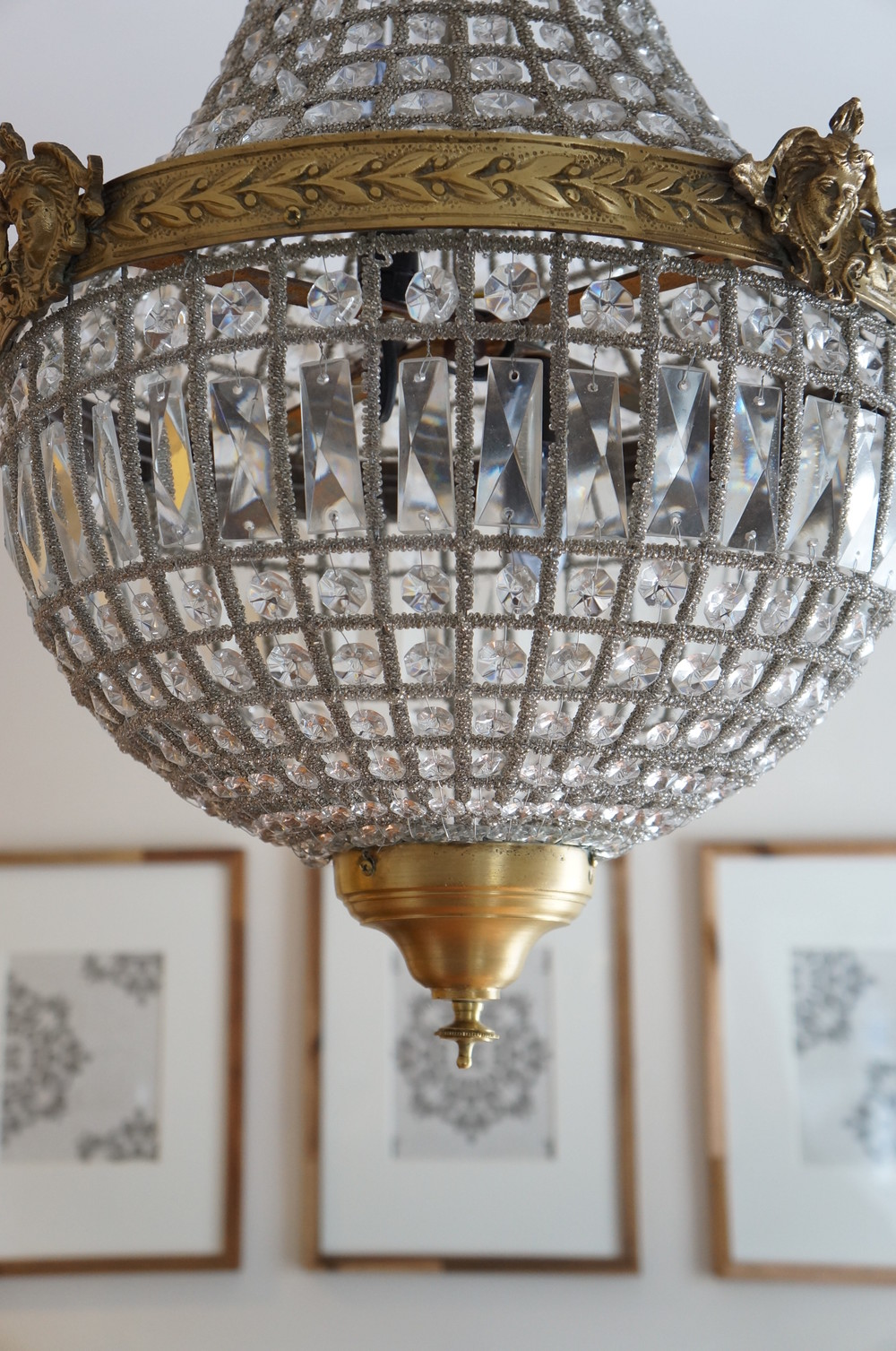 Frames with chandelier