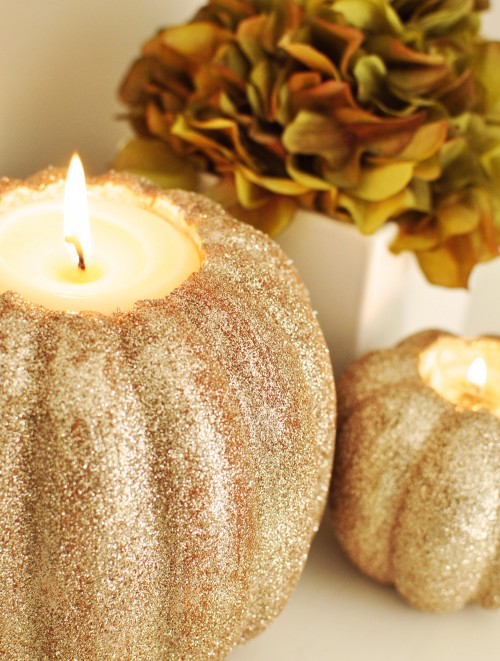 Glitter Pumpkin Candles, Courtesy Style Motivation