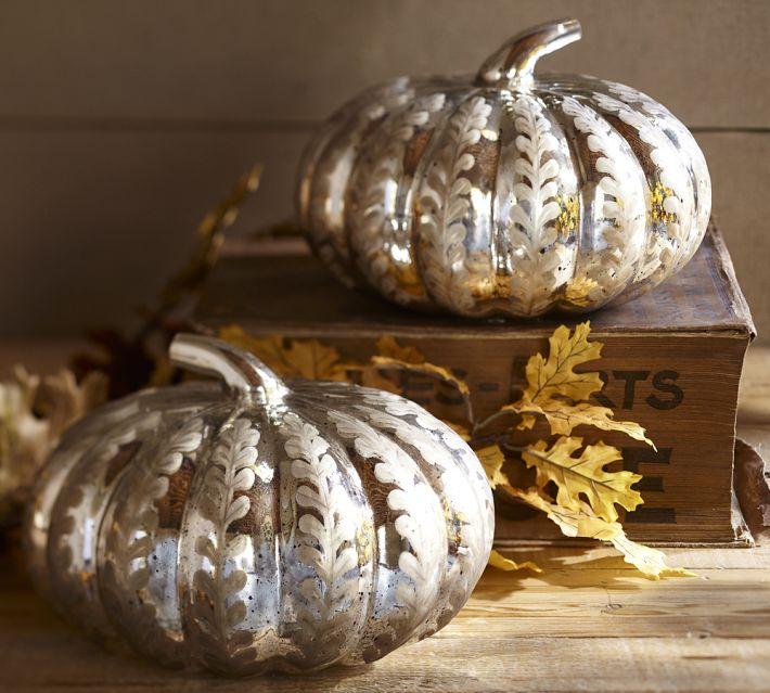 Mercury Glass Pumpkins, Courtesy Pottery Barn
