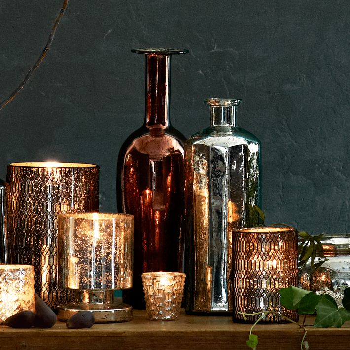 Copper Mercury Glass Bottles, West Elm