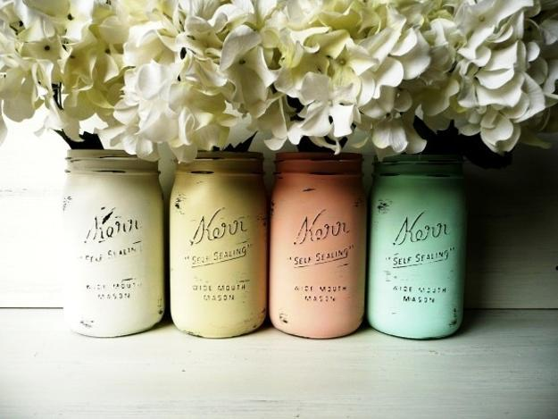 Chalk painted mason jars from Lush Home