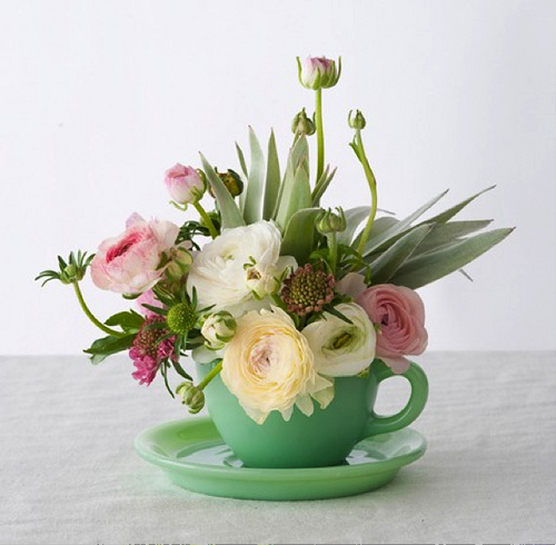 Teacup arrangement from Lauren Conrad