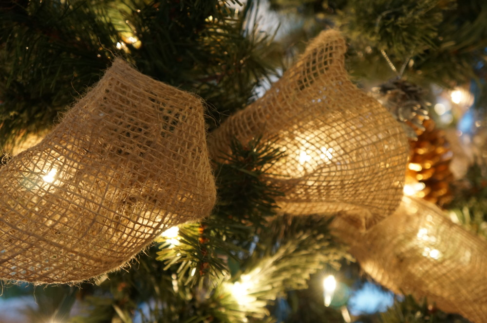 Shabby chic Christmas decor with rustic burlap and sparkling touches