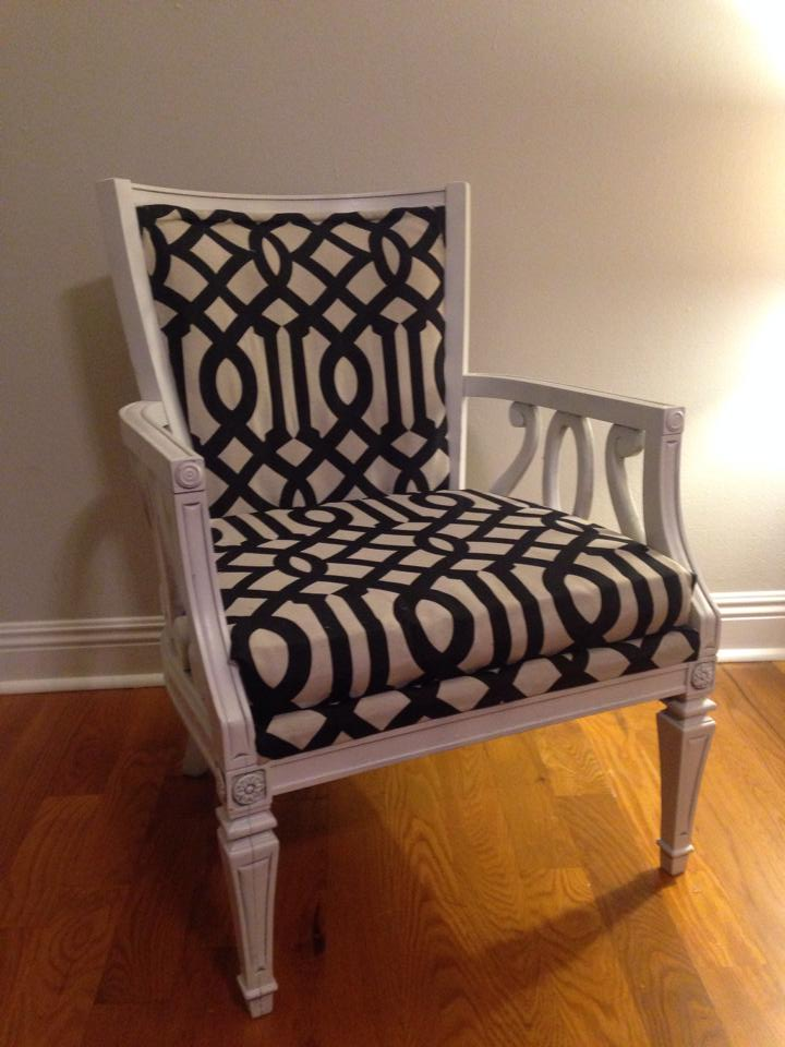 AFTER: Victoria's chic black and white lattice print DIY armchair