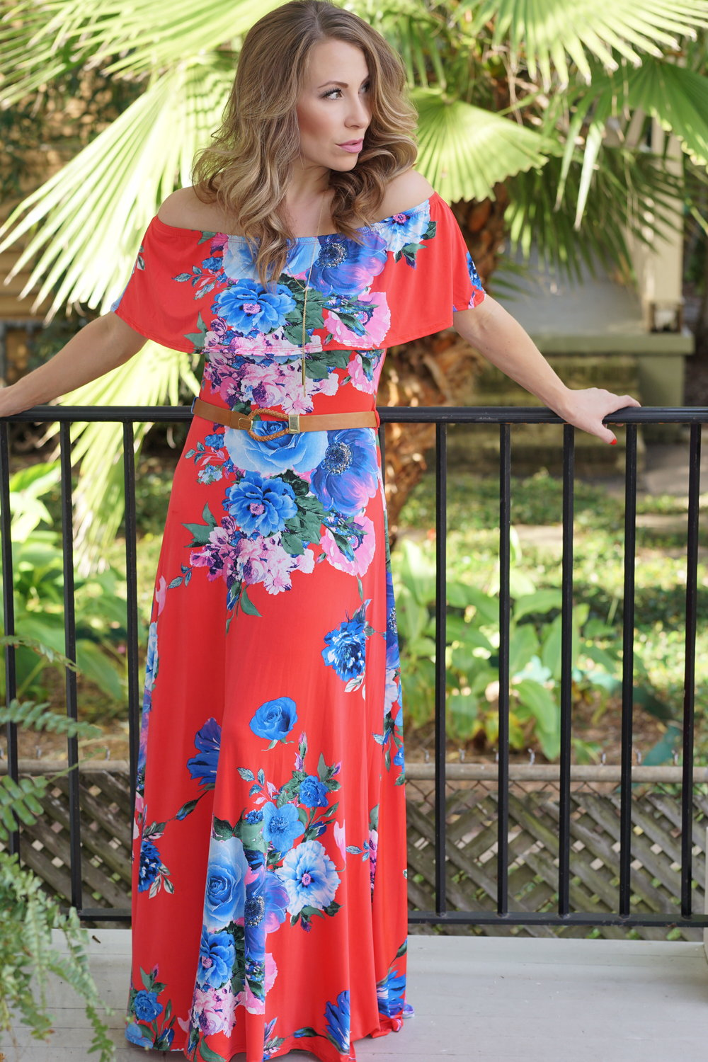Pink Blush Red Floral Ruffle Trim Maxi Dress