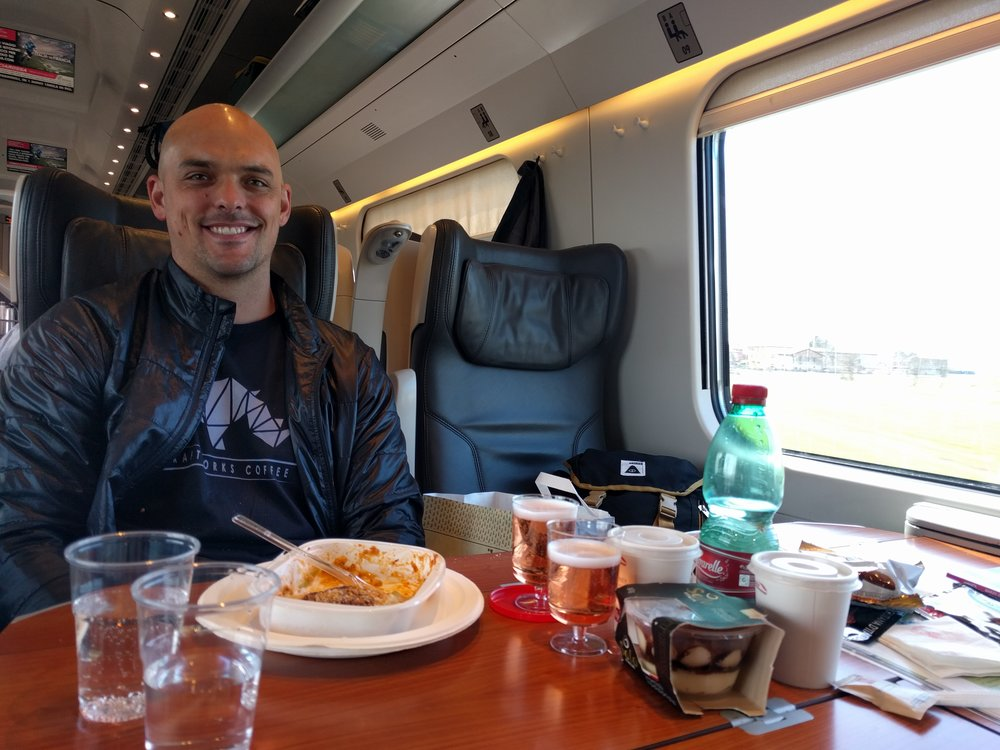 Joe on the train from Florence to Trento Italy
