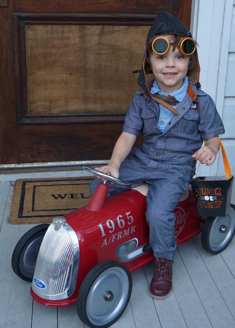 Vintage race car driver costume.JPG
