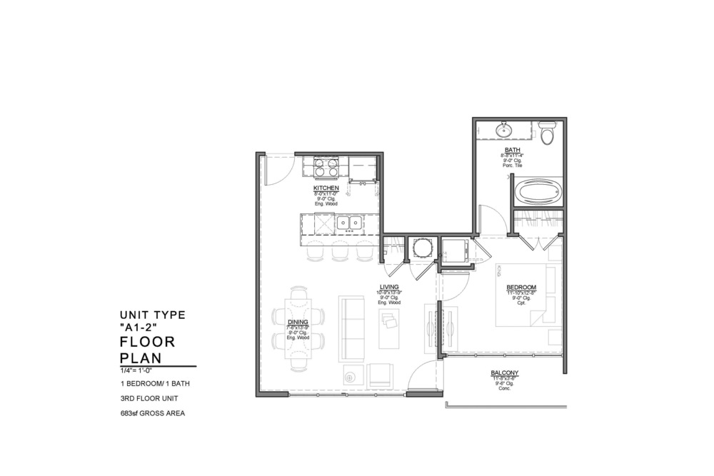 A1-2 FLOOR PLAN: 1 BEDROOM / 1 BATH