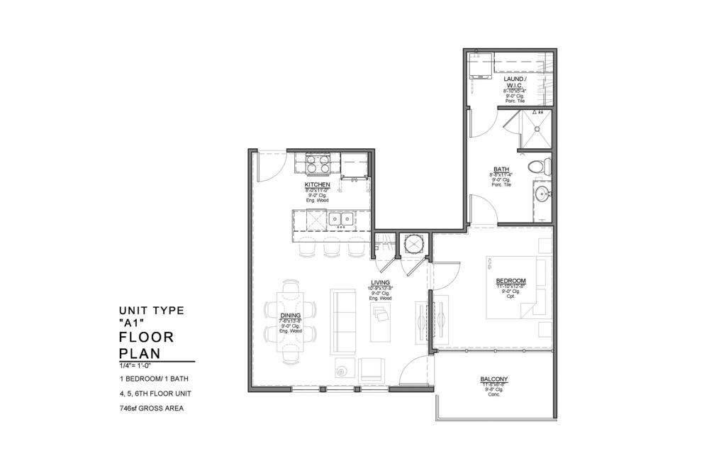 A1 FLOOR PLAN: 1 BEDROOM / 1 BATH