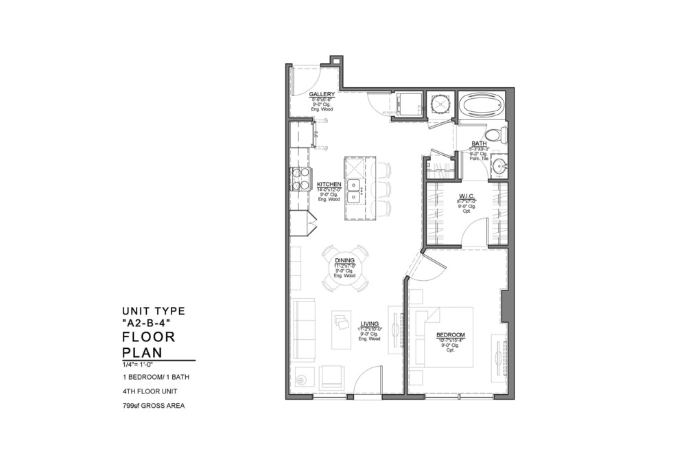 A2-B-4 FLOOR PLAN: 1 BEDROOM / 1 BATH