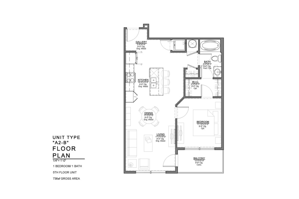 A2-B FLOOR PLAN: 1 BEDROOM / 1 BATH