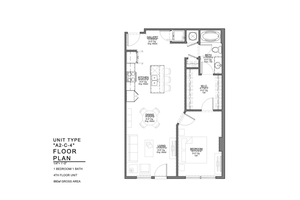 A2-C-4 FLOOR PLAN: 1 BEDROOM / 1 BATH