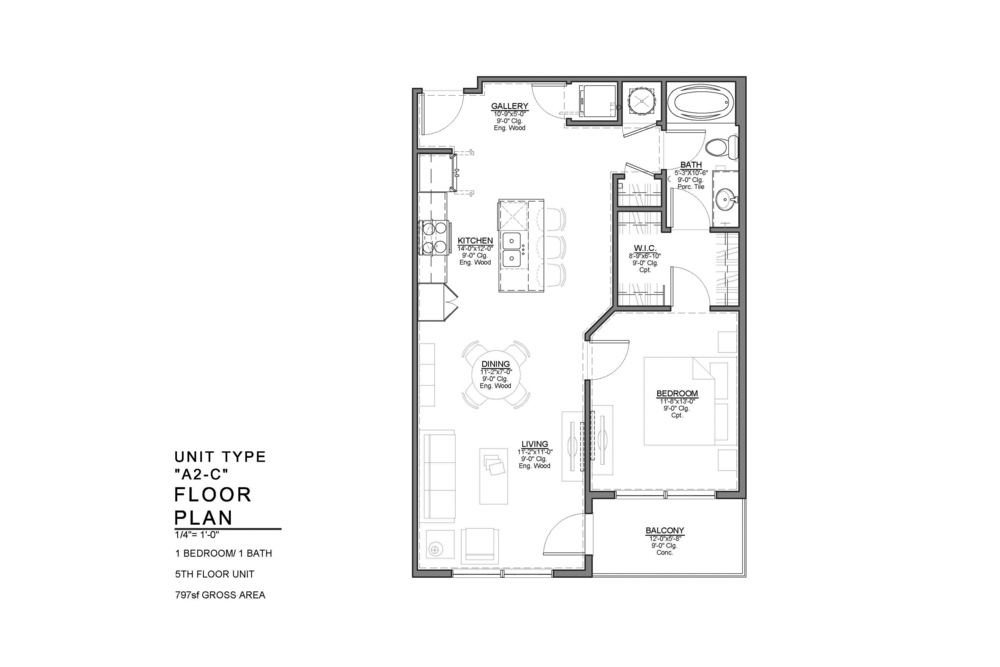 A2-C FLOOR PLAN: 1 BEDROOM / 1 BATH