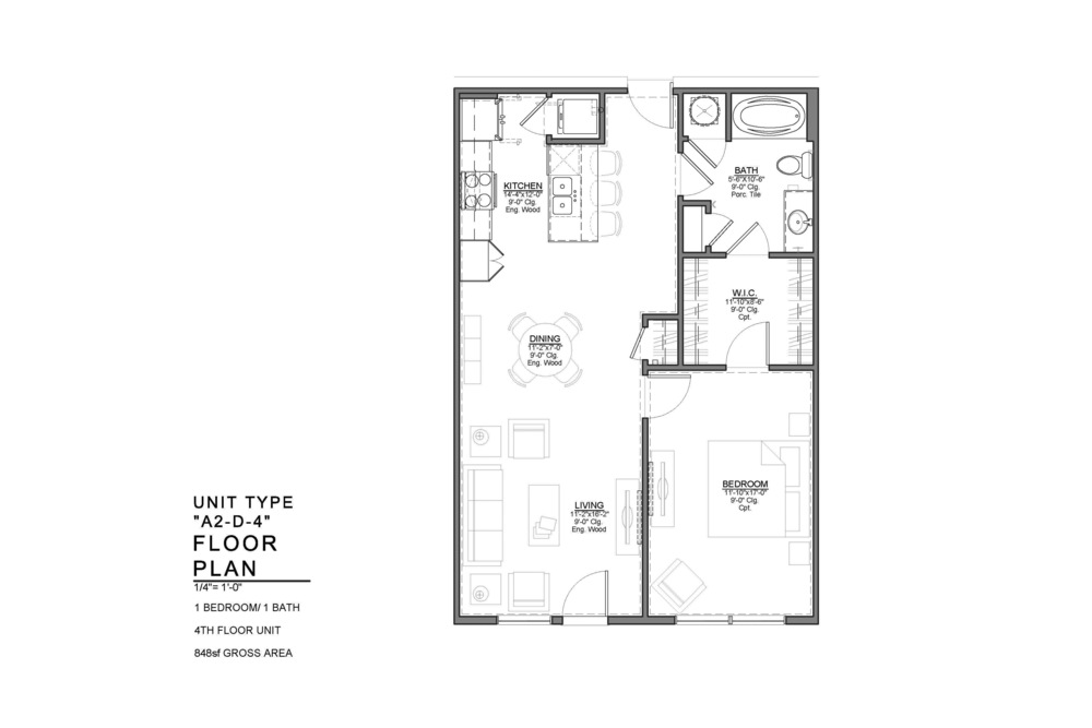 A2-D-4 FLOOR PLAN: 1 BEDROOM / 1 BATH