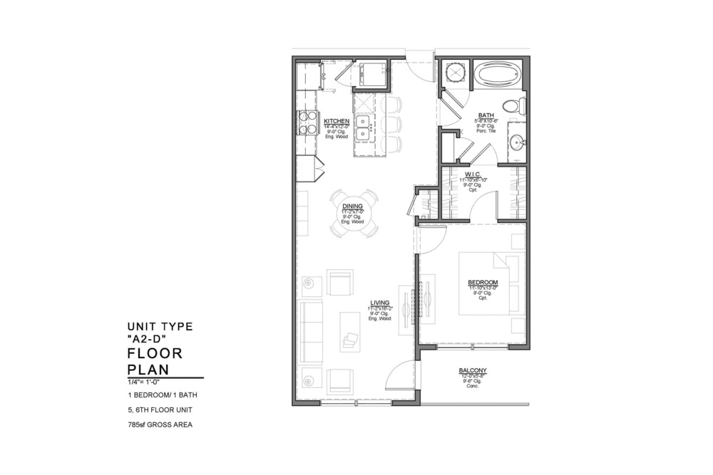 A2-D FLOOR PLAN: 1 BEDROOM / 1 BATH