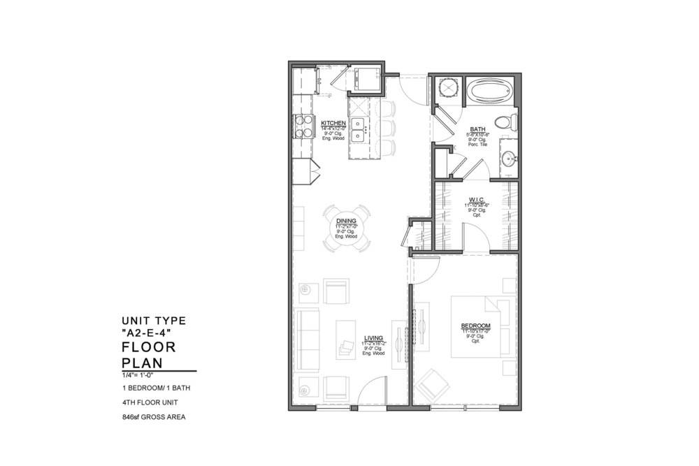 A2-E-4 FLOOR PLAN: 1 BEDROOM / 1 BATH