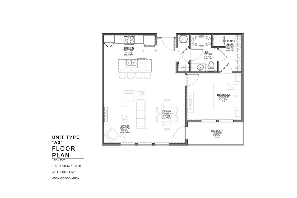 A3 FLOOR PLAN: 1 BEDROOM / 1 BATH