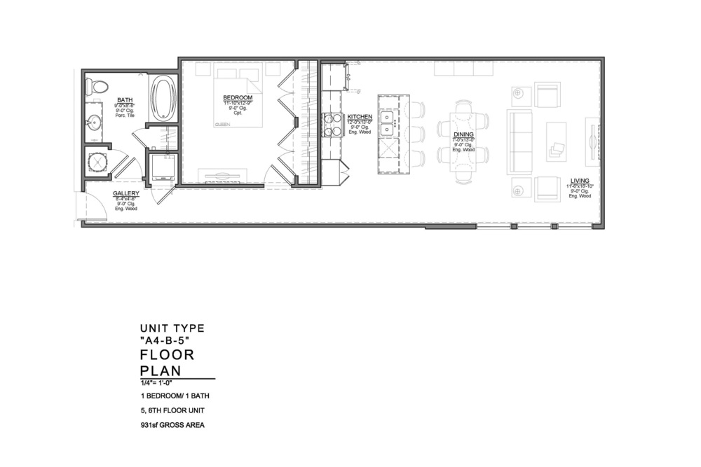 A4-B-5 FLOOR PLAN: 1 BEDROOM / 1 BATH