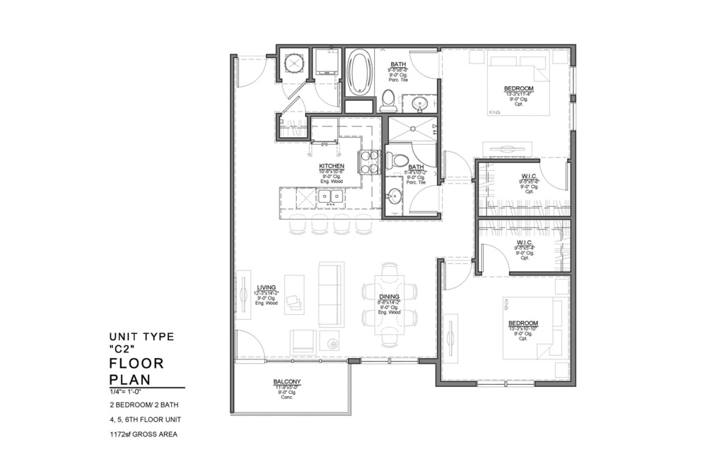 C2 FLOOR PLAN: 2 BEDROOM / 2 BATH