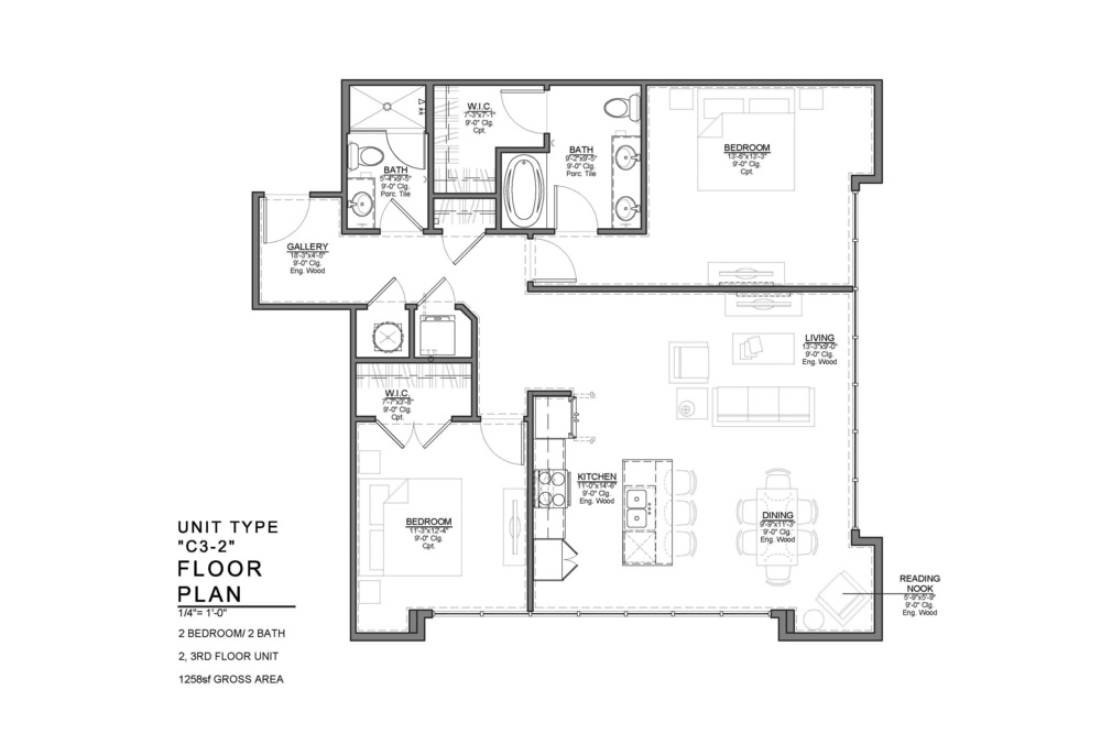 C3-2 FLOOR PLAN: 2 BEDROOM / 2 BATH