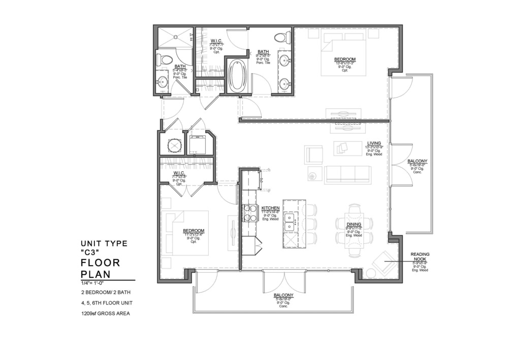C3 FLOOR PLAN: 2 BEDROOM / 2 BATH