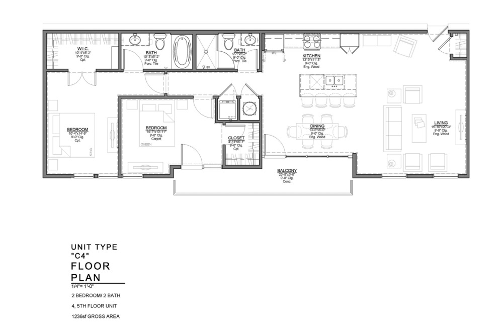 C4 FLOOR PLAN: 2 BEDROOM / 2 BATH