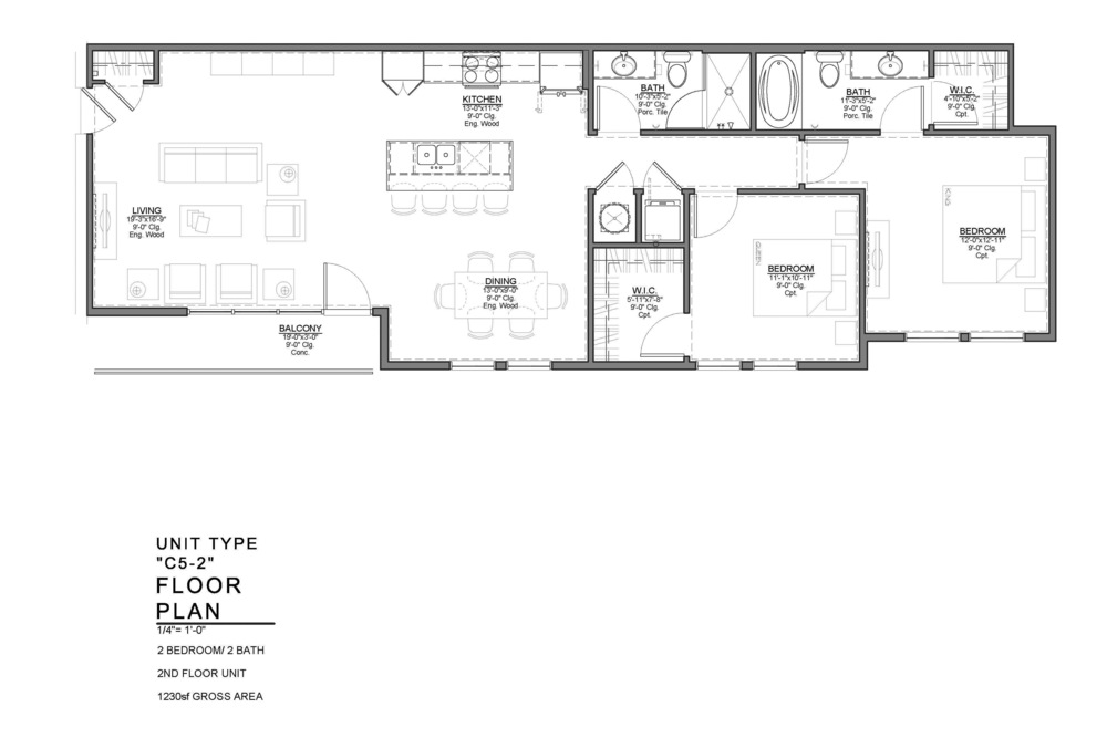 C5-2 FLOOR PLAN: 2 BEDROOM / 2 BATH