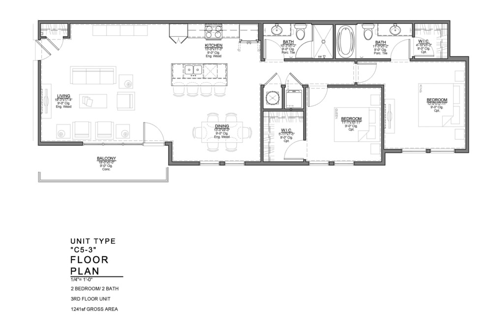 C5-3 FLOOR PLAN: 2 BEDROOM / 2 BATH