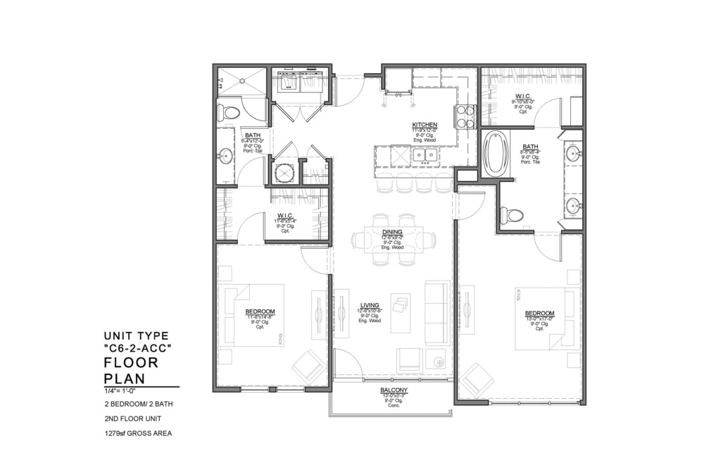 C6-2-ACC FLOOR PLAN: 2 BEDROOM / 2 BATH