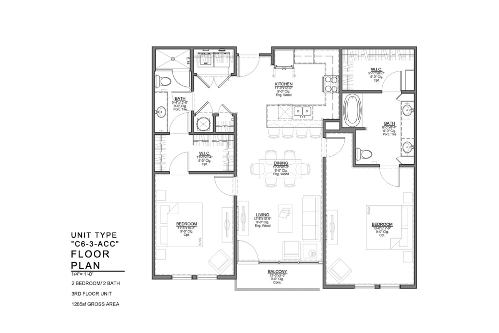 C6-3-ACC FLOOR PLAN: 2 BEDROOM / 2 BATH
