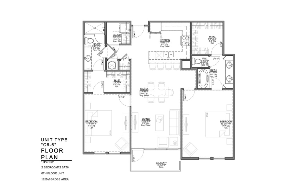 C6-6 FLOOR PLAN: 2 BEDROOM / 2 BATH