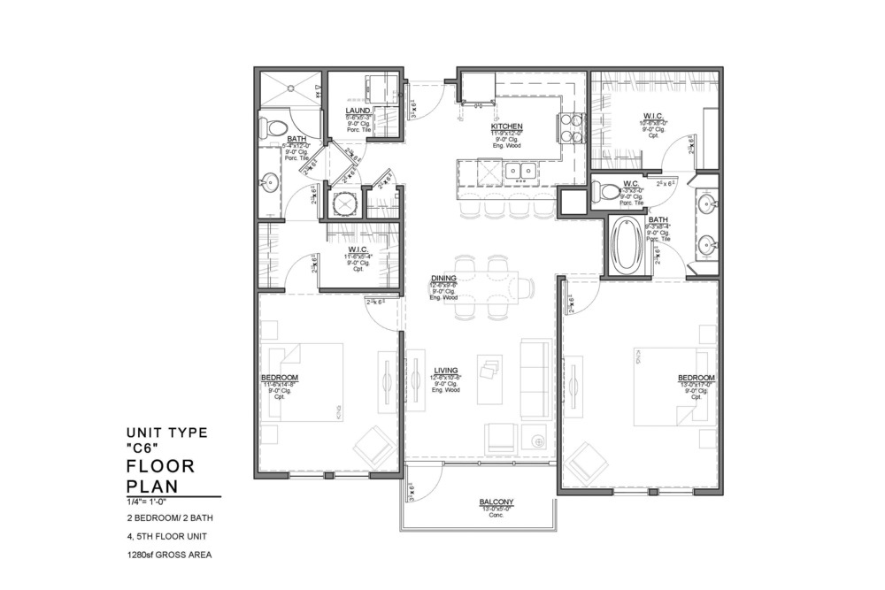 C6 FLOOR PLAN: 2 BEDROOM / 2 BATH
