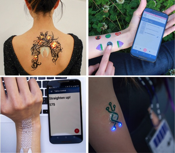 From top left: A Skintillates display with LED's the blink with music beats, capacitive touch sensors that can be used to any bluetooth-connected devices, a strain gauge that can detect posture, and demo LED devices worn by conference goers in ACM DIS.