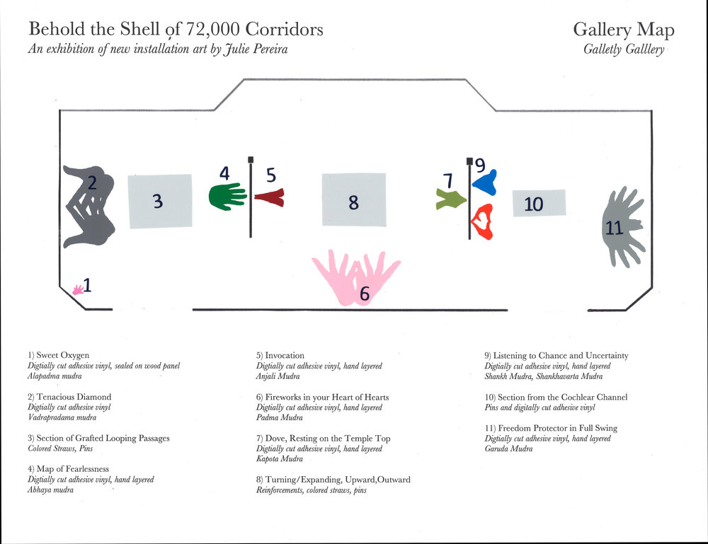 The work was first shown an installation at the Galletly Gallery in New Hampton, New Hampshire in February and March of 2017. The above map shows how the work was arranged in the space and the corresponding titles, materials and mudras connected to each numbered collection.