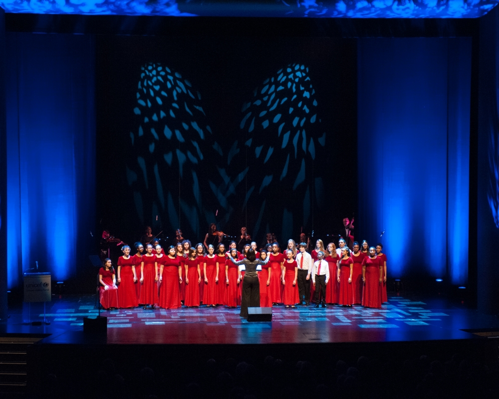 The Tremble Choir performs at The 2nd Annual UNICEF Audrey Hepburn® Society Ball at the Wortham Center on October 14, 2014 in Houston, Texas. (Photo by Alexander's Fine Portrait Design © Alexander Rogers)