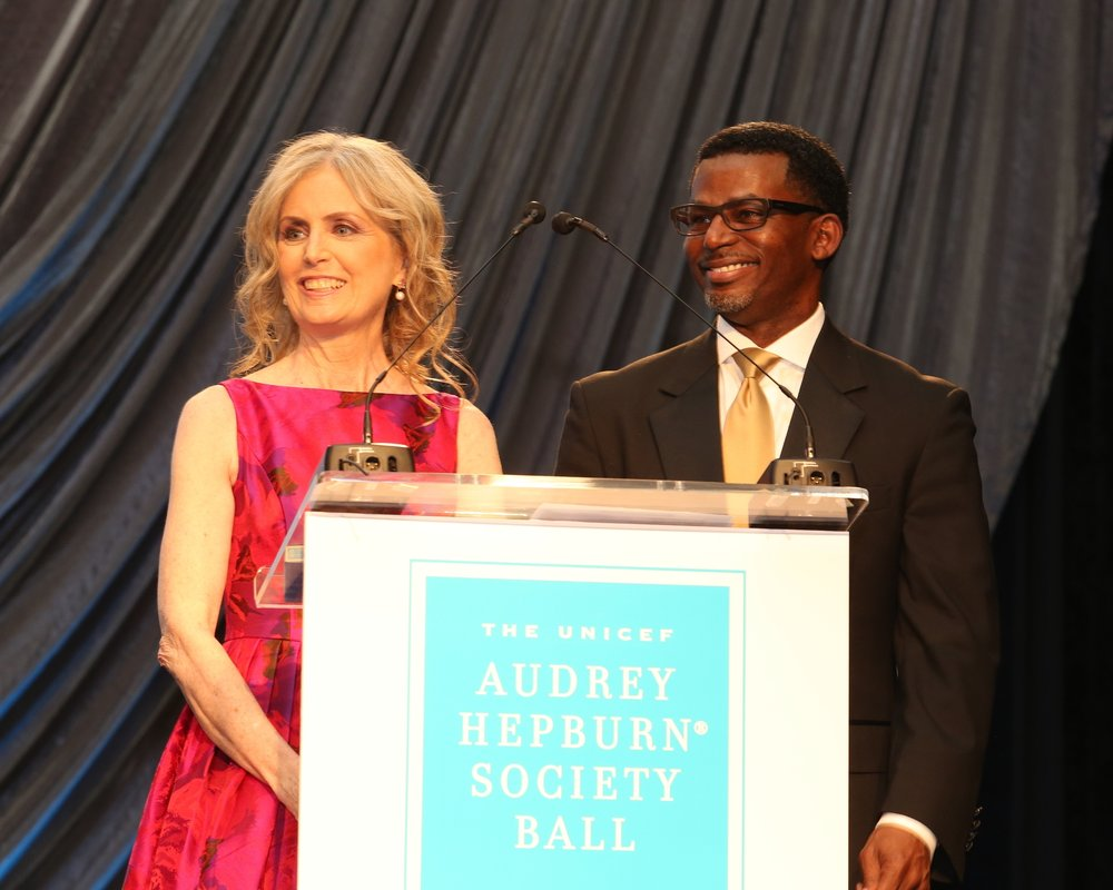 U.S. Fund for UNICEF Southwest Regional Board Chair, Ann Holmes and U.S. Fund for UNICEF Managing Director of the Southwest Region, Nelson Bowman III at the 2015 UNICEF Audrey Hepburn® Society Ball   in Houston, Texas.