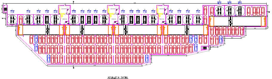 Airport parking level. Ground floor entrance and exit design. Notice 23 entry and exit bays. Total capacity 1,950 vehicles.