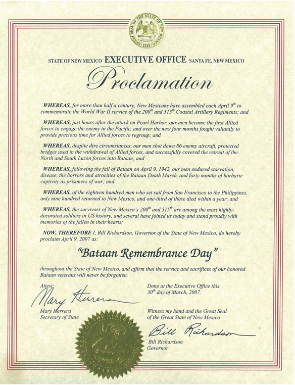 Bataan Remembrance Day Proclamation for NM Governor Bill Richardson