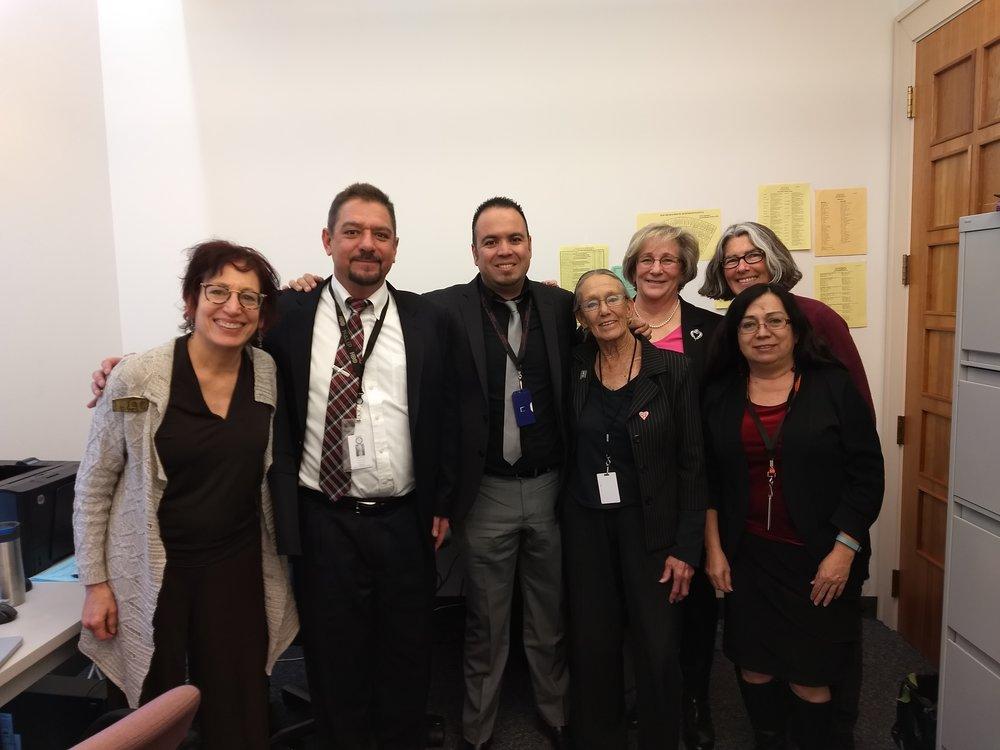 L-R: Myra Segal, Floyd Vasquez, Roberto Lozano, Sharon Dogruel, Merrie Lee Soules, Lynn Canning and Carla Acosta.