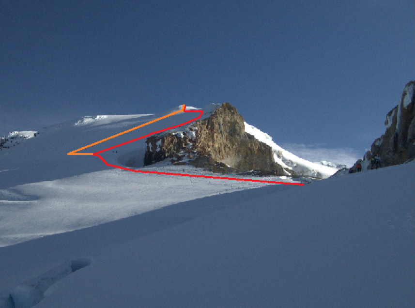 The red indicates the way up and the orange indicates the way down. A closer view of the headwall.
