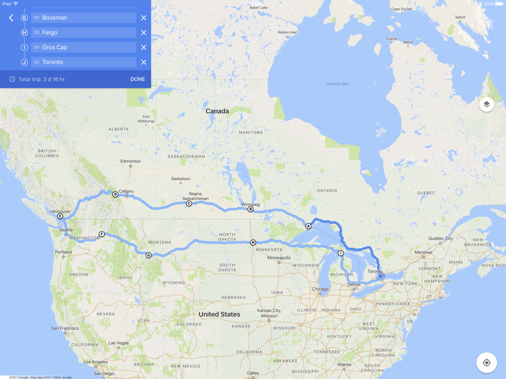 Planned route Toronto to Vancouver and back.