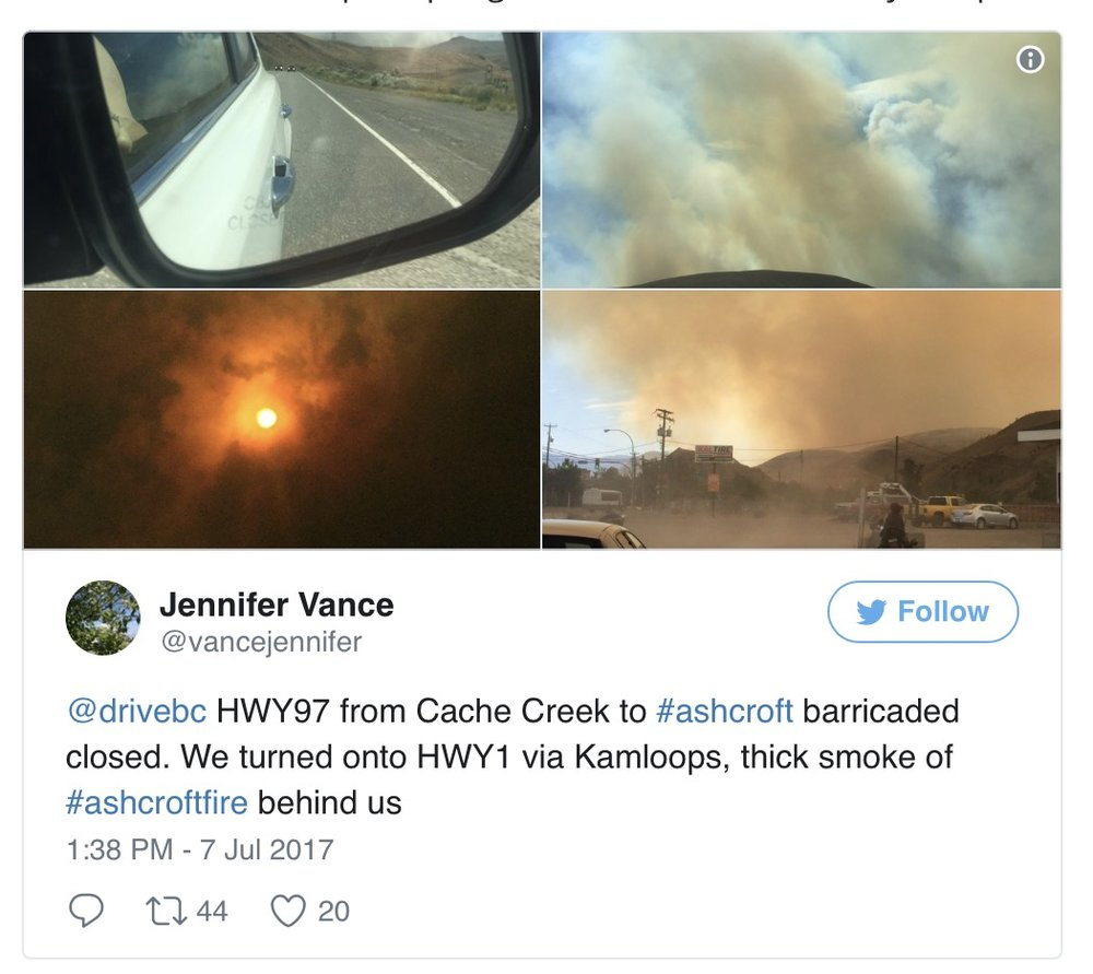 Tweet about wildfires in BC. There were several highway closures.