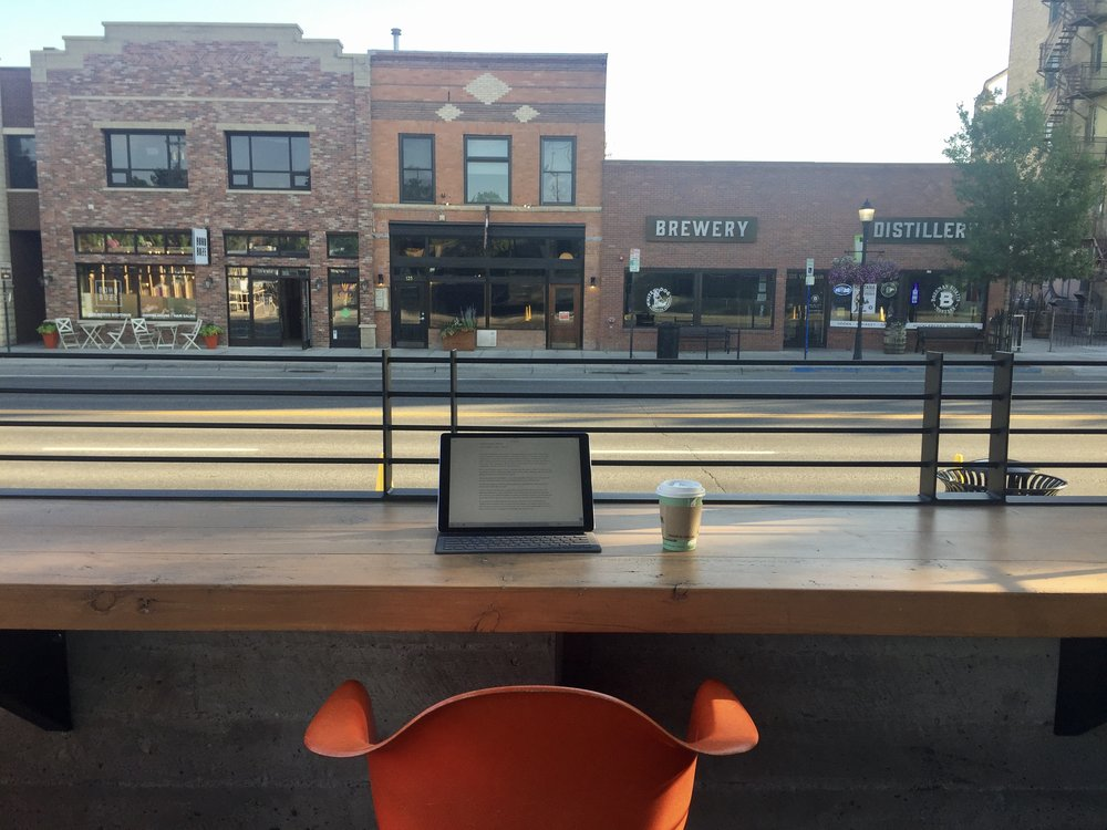 Coffee and writing in Bozeman
