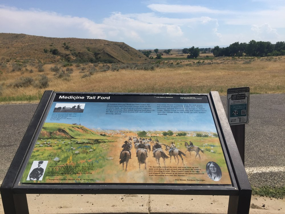 On the battlefield there are information pictures to illustrate the landscape you are viewing