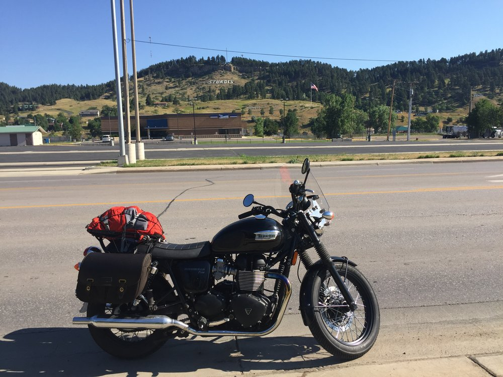 You can see the Sturgis sign in the background on the hill.
