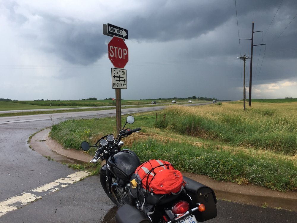 Stopped to pull on my rain gear