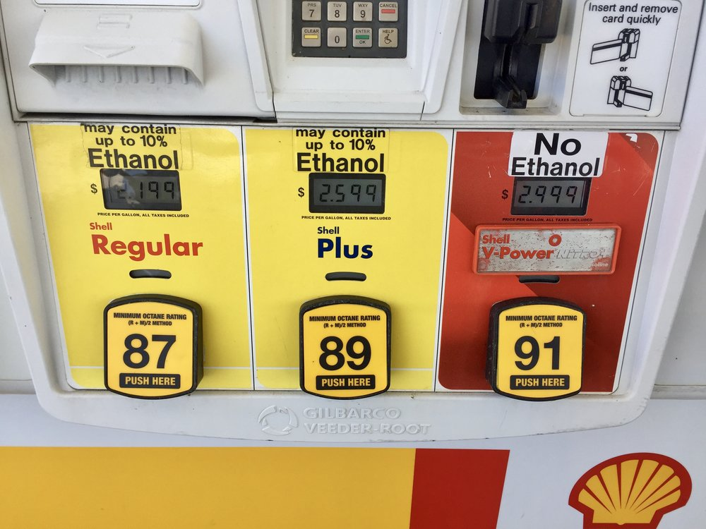 Getting gas - You can see the ethanol signs