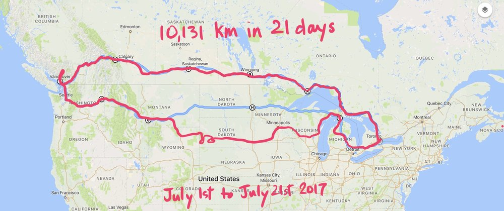 The whole journey - 10,131 km