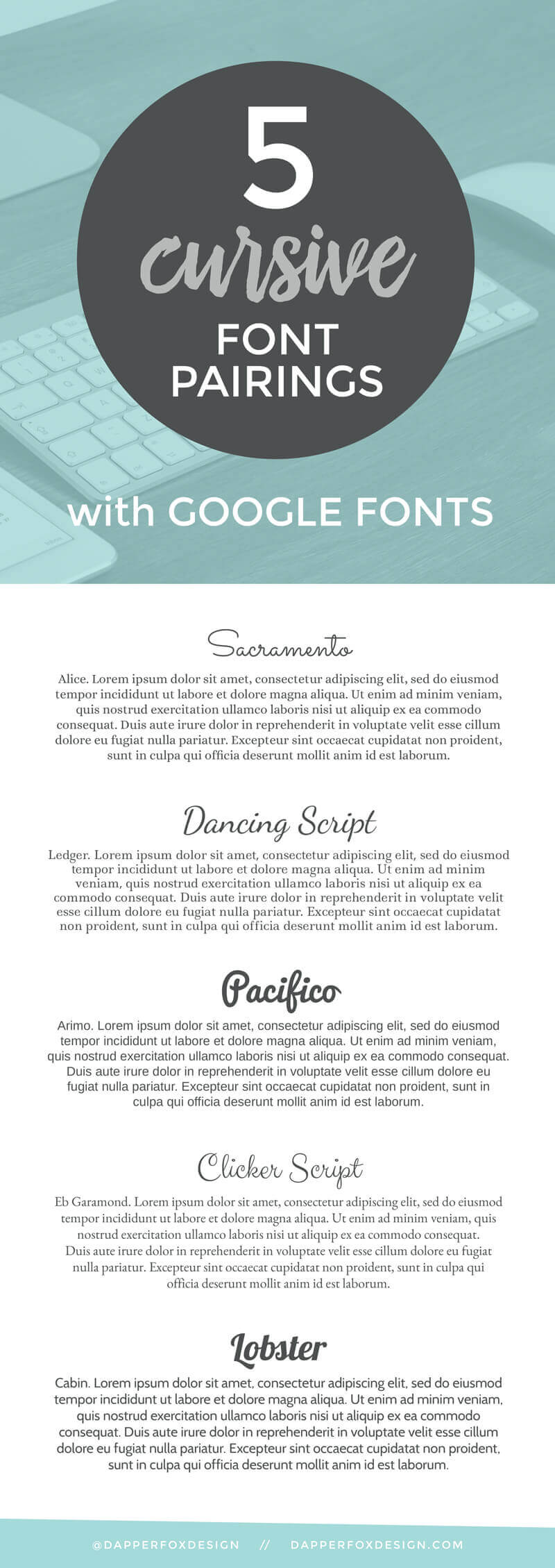 google font pairings how to pair fonts by Dapper Fox Design in Salt Lake City Utah //   Website Design - Branding - Logo Design - Entrepreneur Blog and Resource